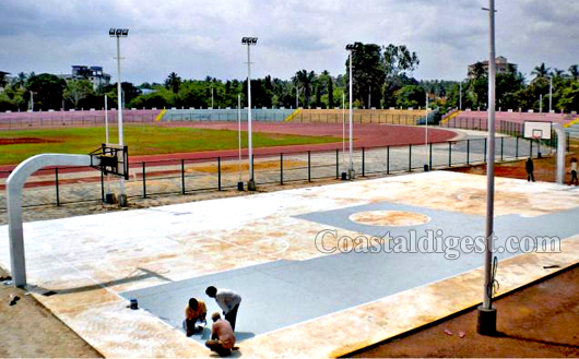 Udupi basketball court at district stadium is all set for for Basketball court construction cost